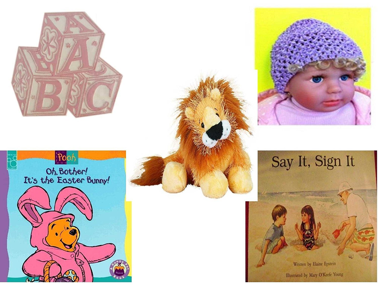 """Children's Gift Bundle - Ages 0-2 [5 Piece] - ABC Baby Blocks Cake Topper Pink Girl - Baby Crochet Beanie Lavender - Webkinz Lion 5"""" - Oh, Bother. It's the Easter Bunny. Board book - Say It, Sign I"""