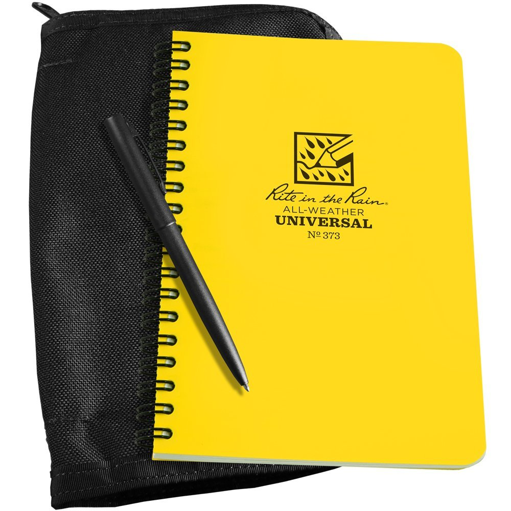 "Rite in the Rain All-Weather Side Spiral Kit: Black CORDURA Fabric Cover, 4 5/8"" x 7"" Yellow Notebook, and All-Weather Pen (No. 373B-KIT)"