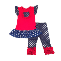Yawoo Fashion 4th of July Boutique Outfits for Baby Girls Flutter Sleeve Top Ruffle Clothing Set Wholesale National Day 2pcs Set