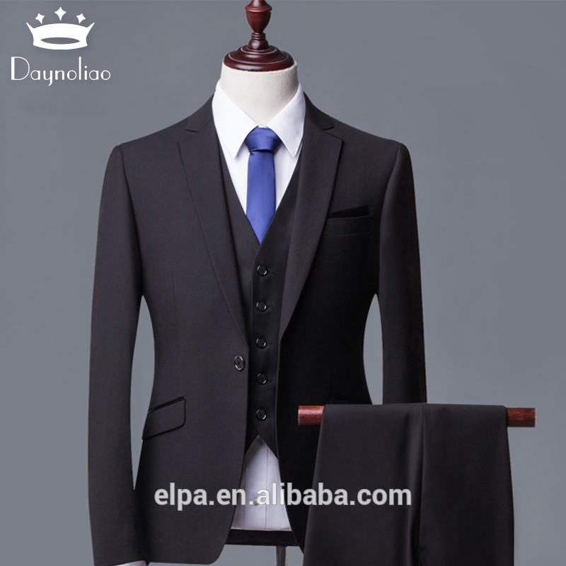 Daynoliao 3 piece Men suits designer slim fit made to measure black navy formal business suits for men