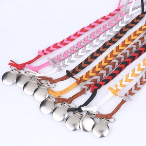 Amazon hot sale INS hand-made two-color pacifier leather chain braided metal pacifier clips chain