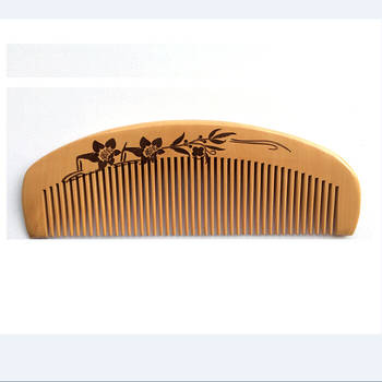 Natural Handle Combs Peach Material Nature Color Hair Wood Comb With Laser Logo