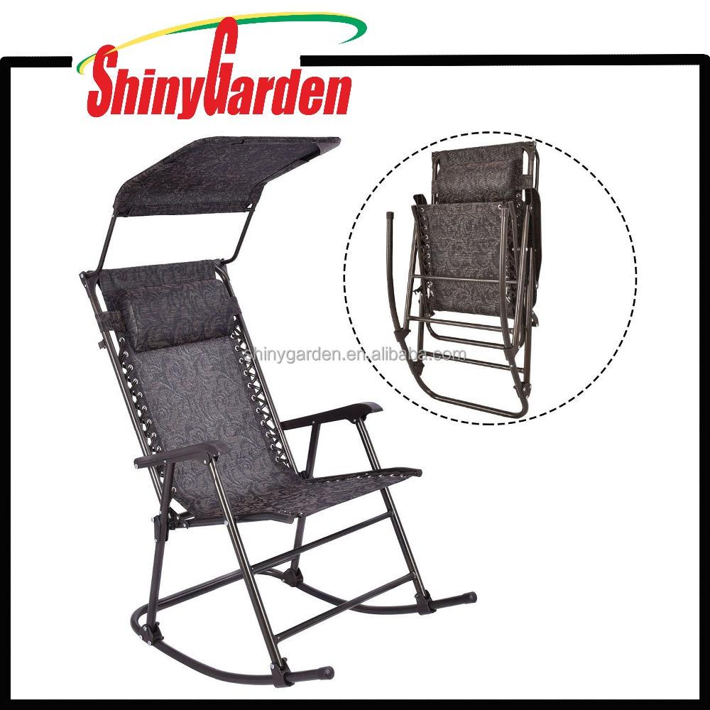 Muebles de jard n mecedora al aire libre mecedora plegable con canopy sillas de metal - Mecedora plegable ...