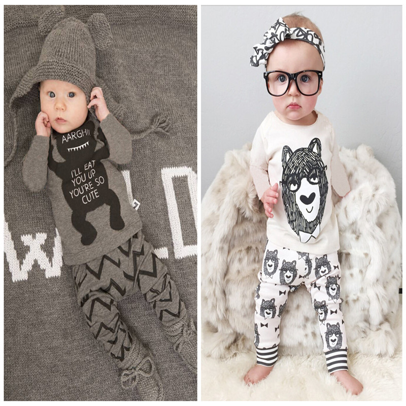 Retail 2015 baby clothes infant clothes baby clothing sets boy Cotton little monsters long sleeve 2pcs