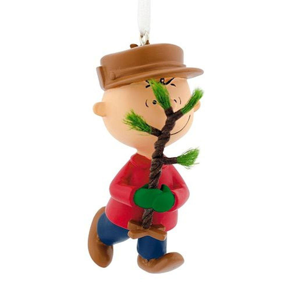 Hallmark Peanuts Charlie Brown with a Christmas Tree Resin Ornament 2016