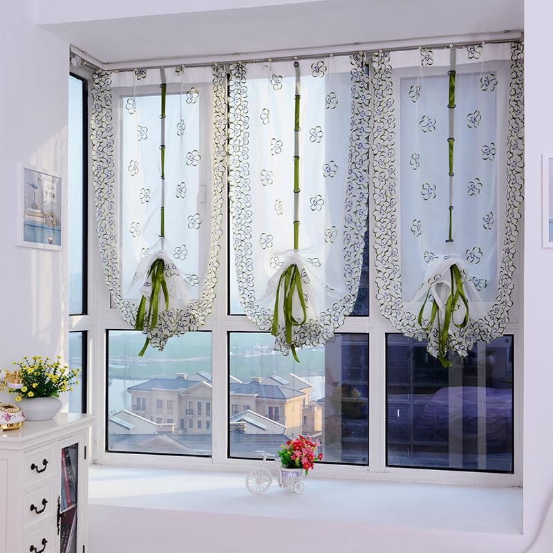 2016 Roman Curtains Top Sheer Kitchen Door Window Curtains