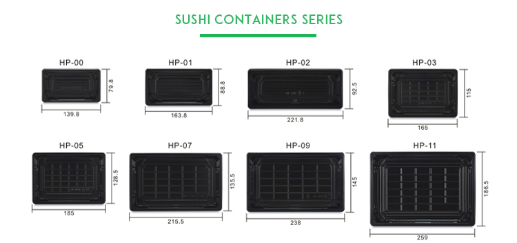 Harvest HP-01 High quality disposable Sushi Tray plastic strong sushi food container