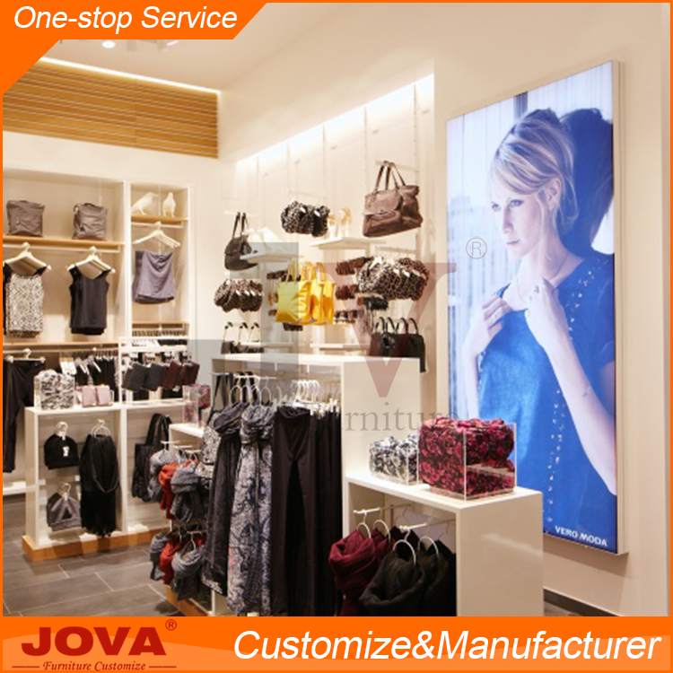 Customized bright clothing store equipment shelves fixtures with clothes display stand