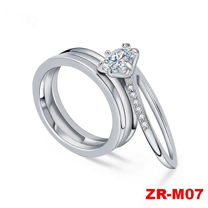 New Wholesale Fashion Two In One Design Zircon Pair Wedding Ring ...