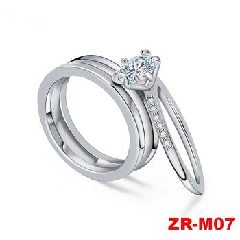 New Wholesale Fashion Two In One Design Zircon Pair Wedding Ring