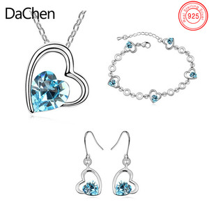 Blue Crystal Avenue Wholesale 925 Silver Heart Shaped Jewelry Set For Bridal