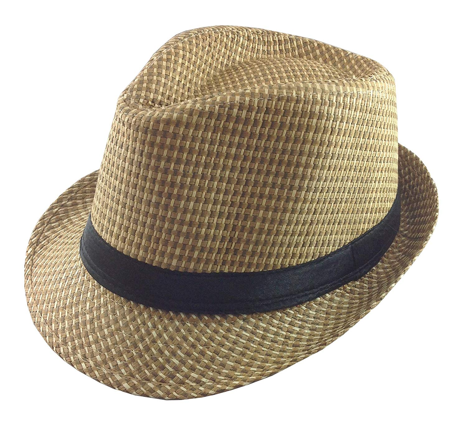 6f3144d1def Get Quotations · Natural Woven Straw Fedora Hat with Black Band