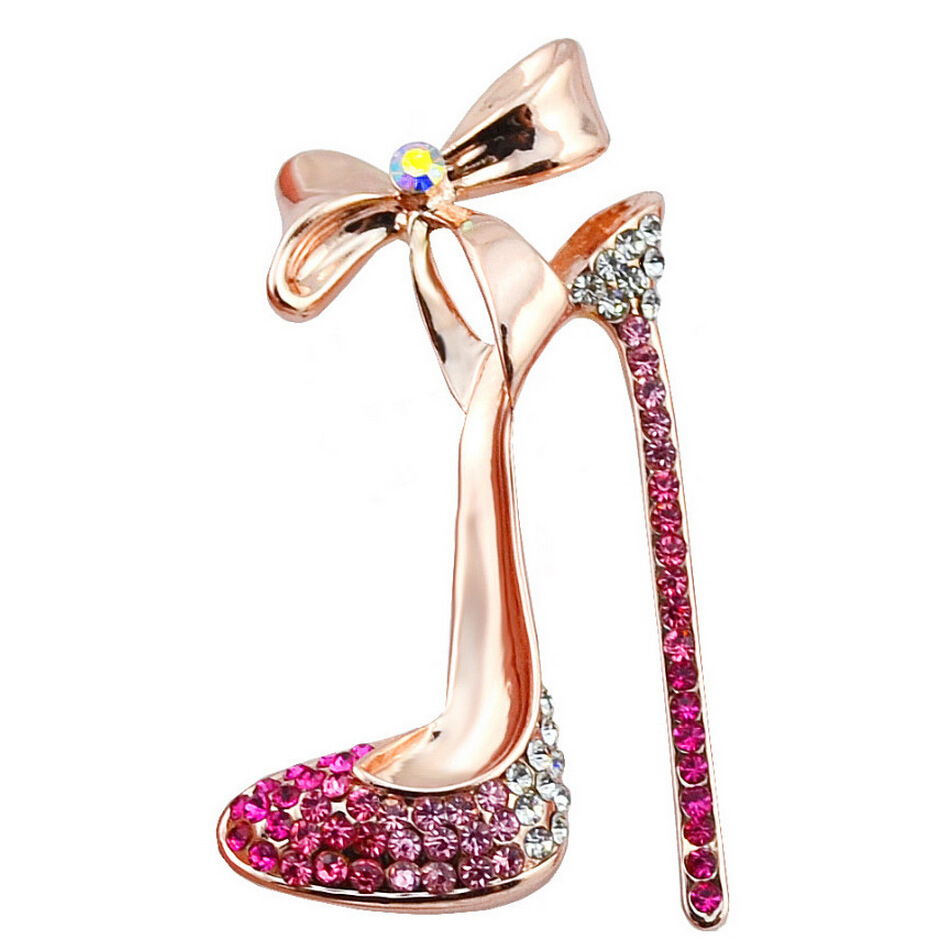 Fashion Cristal Strass Talon Haut Chaussures Broches Pins Jewelry for Women