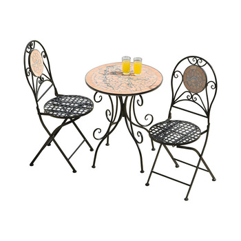 Mosaic Bistro Table Round 2 Iron Chairs Set Stone Tiles Top Patio Outdoor Garden Product On