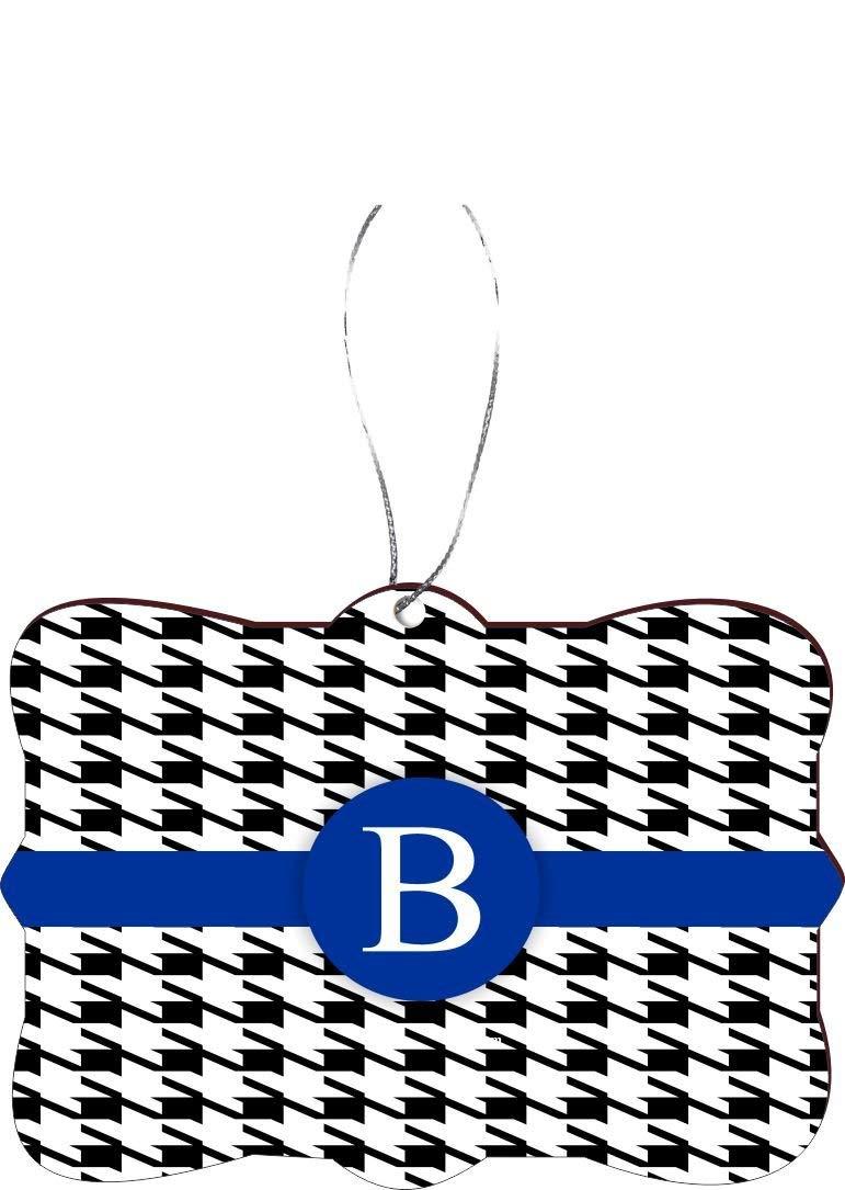 "Rikki Knight RKWS-SQORN-46256 Christmas Tree Ornament / Car Rear View Mirror Hanger Letter ""B"" Blue Houndstooth Monogram Design"