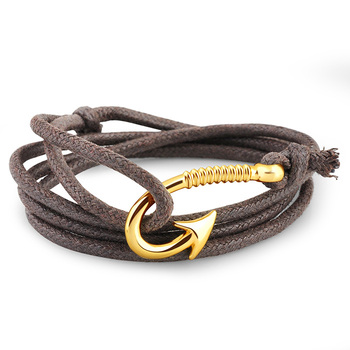 Turkish Jewellery Mens Wrist Band Gold Plated Leather Fish Hook Bracelet,  View Leather Fish Hook Bracelet, Rasta Bracelet Product Details from