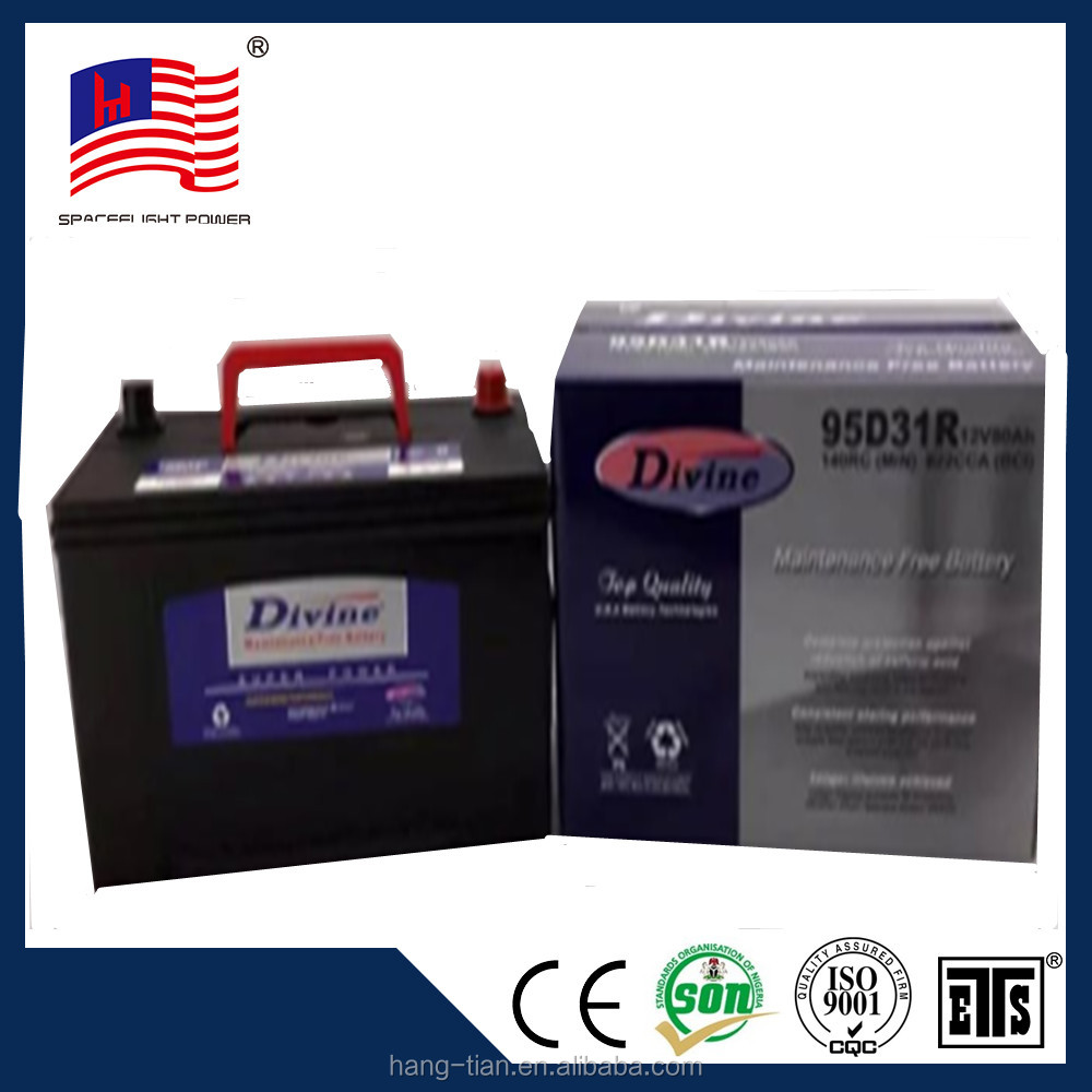 China supplier 95d31 sealed lead acid jis style 12v 80ah mf car battery 6-qw-80