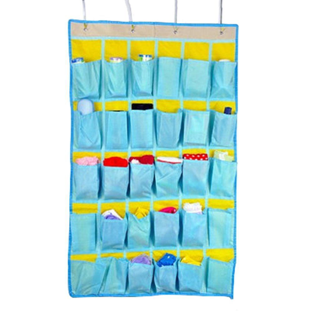 Frjjthchy 30-Pocket Oxford Wall Hanging Cell Phone Classroom Pocket Bag Jewelry Organizers (Lake Blue)