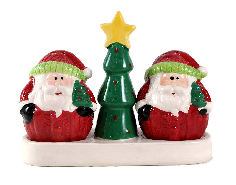 Holiday Santa with Christmas Tree Salt & Pepper Shaker Set