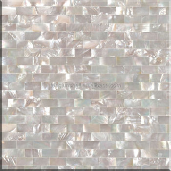 Pure White Seamless Brick Type Shell Mosaic Tile Pearl Gl