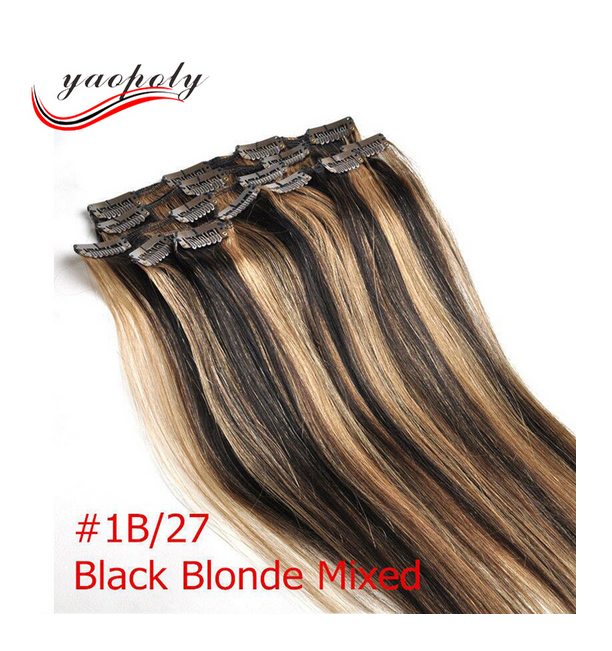 100% Remy Virgin Human clip in Hair Extension #1b/27 piano colored ombre clips hair extensions free sample