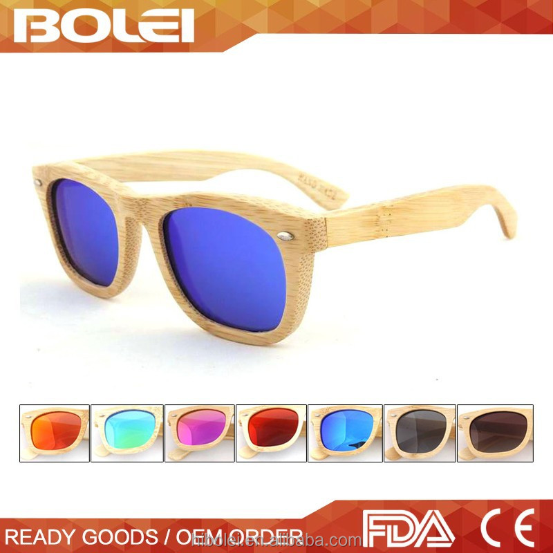 2016 recycle skateboard wooden sunglasses with mirror lens sunglasses