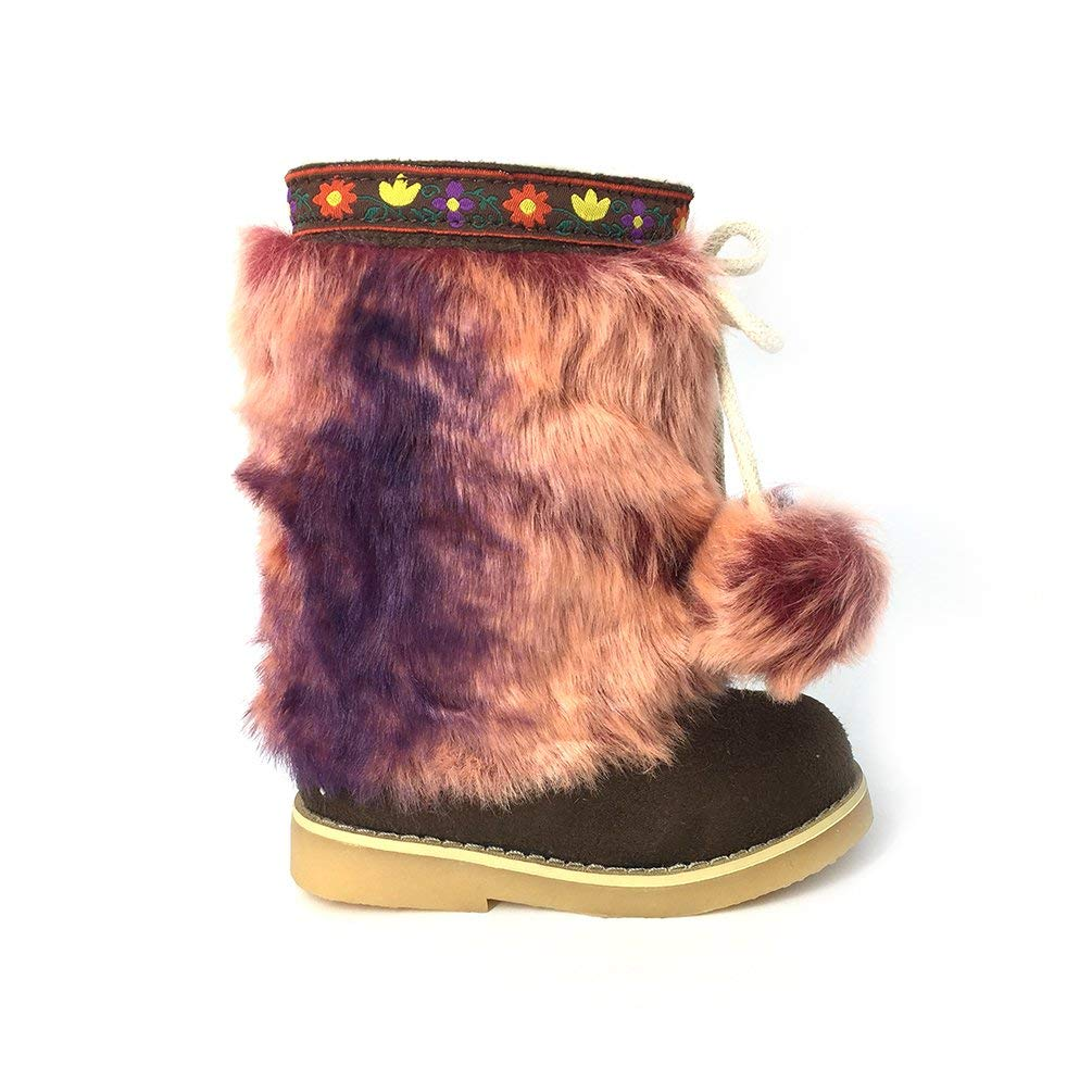 b8ca624e07cb Get Quotations · D.LIN Girls  Pom Pom Snow Boots Girl Suede Winter Boots( Toddler
