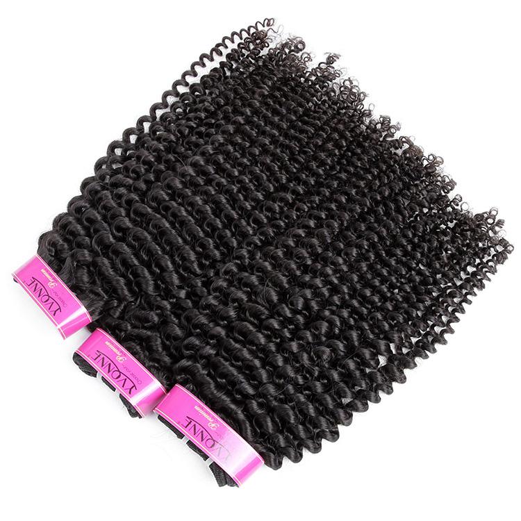 Yvonne hair 100% human hair brazilian kinky curly virgin hair weft, Natural color #1b