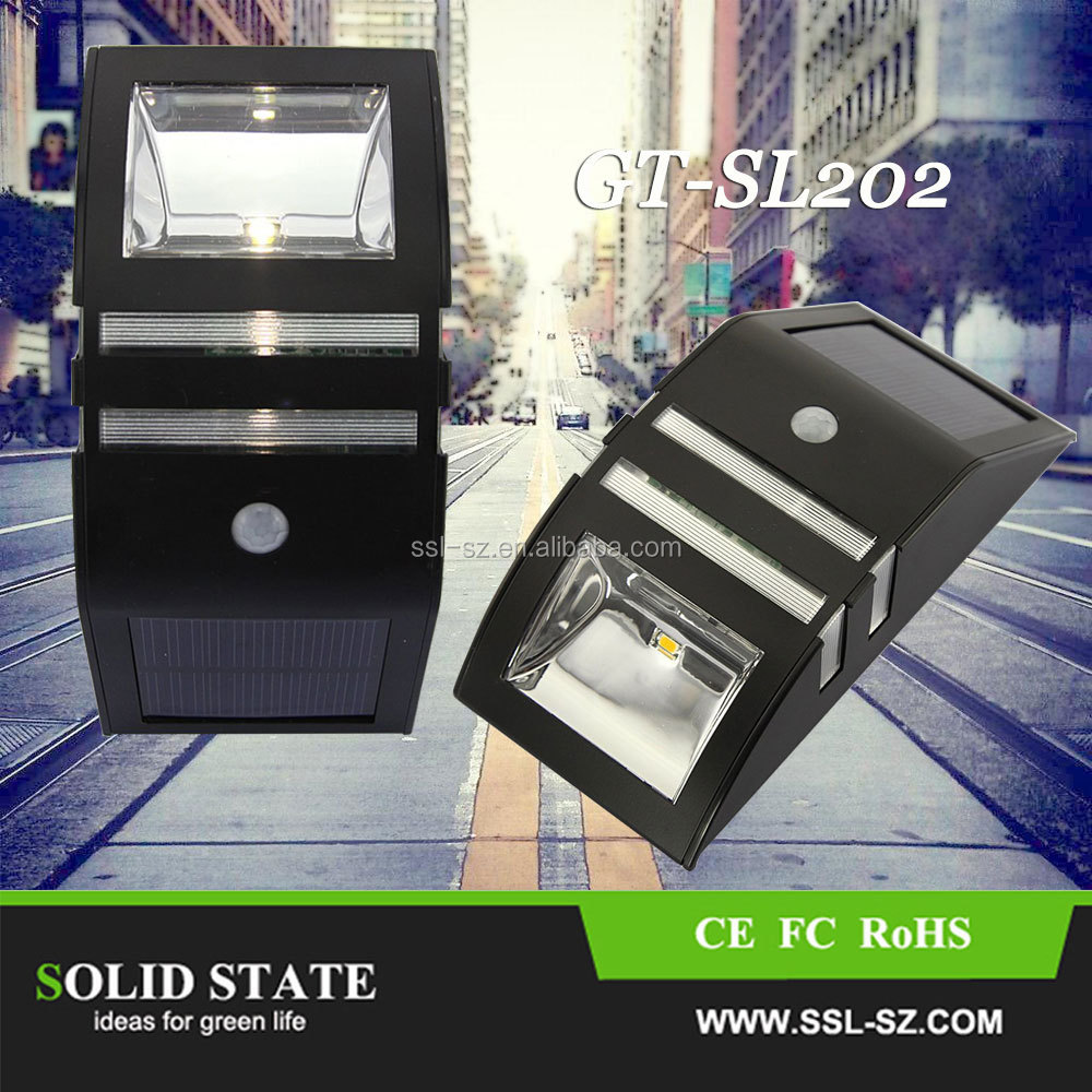 Silver Black No Wire High Bright Solar Led Light Outdoor Wall Recessed