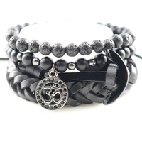 Jewelry Men Genuine Leather Anchor Bracelets Wrap Beaded Bangles Hand Charm Heart Pattern for Mens Fashion 1 set 4 pcs