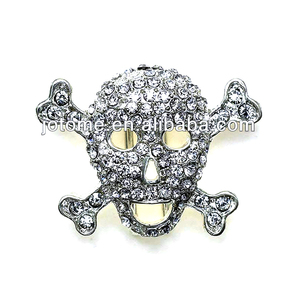 Top sale silver skull rhinestone button for Halloween decoration