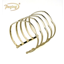 China supplier fashion polished Tanishq gold 22k multiple hoop five wrap multilayer cuff bangle bracelet jewelry for women
