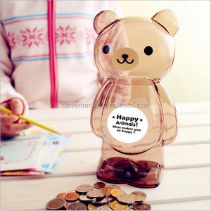 Bear shape clear brown green pink saving money boxes