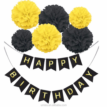 Umiss 7pcs customize black yellow happy birthday banner with paper umiss 7pcs customize black yellow happy birthday banner with paper pom poms flowers ball kit mightylinksfo