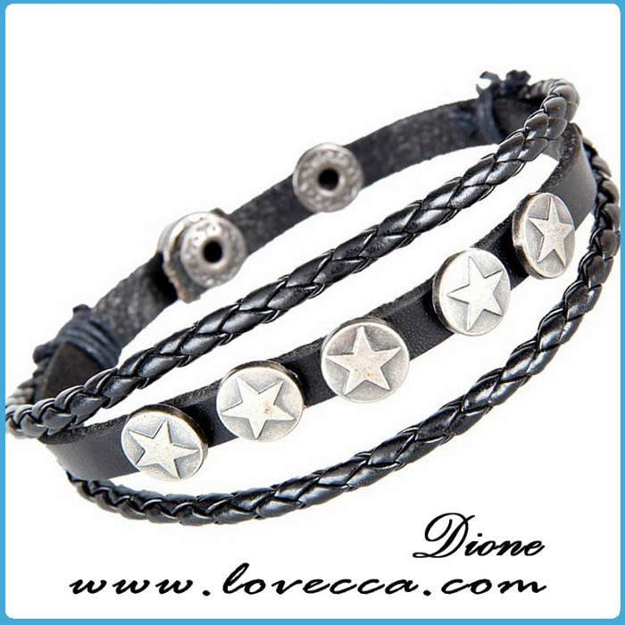 Punk rock multi layer hot sale leather bracelet for men