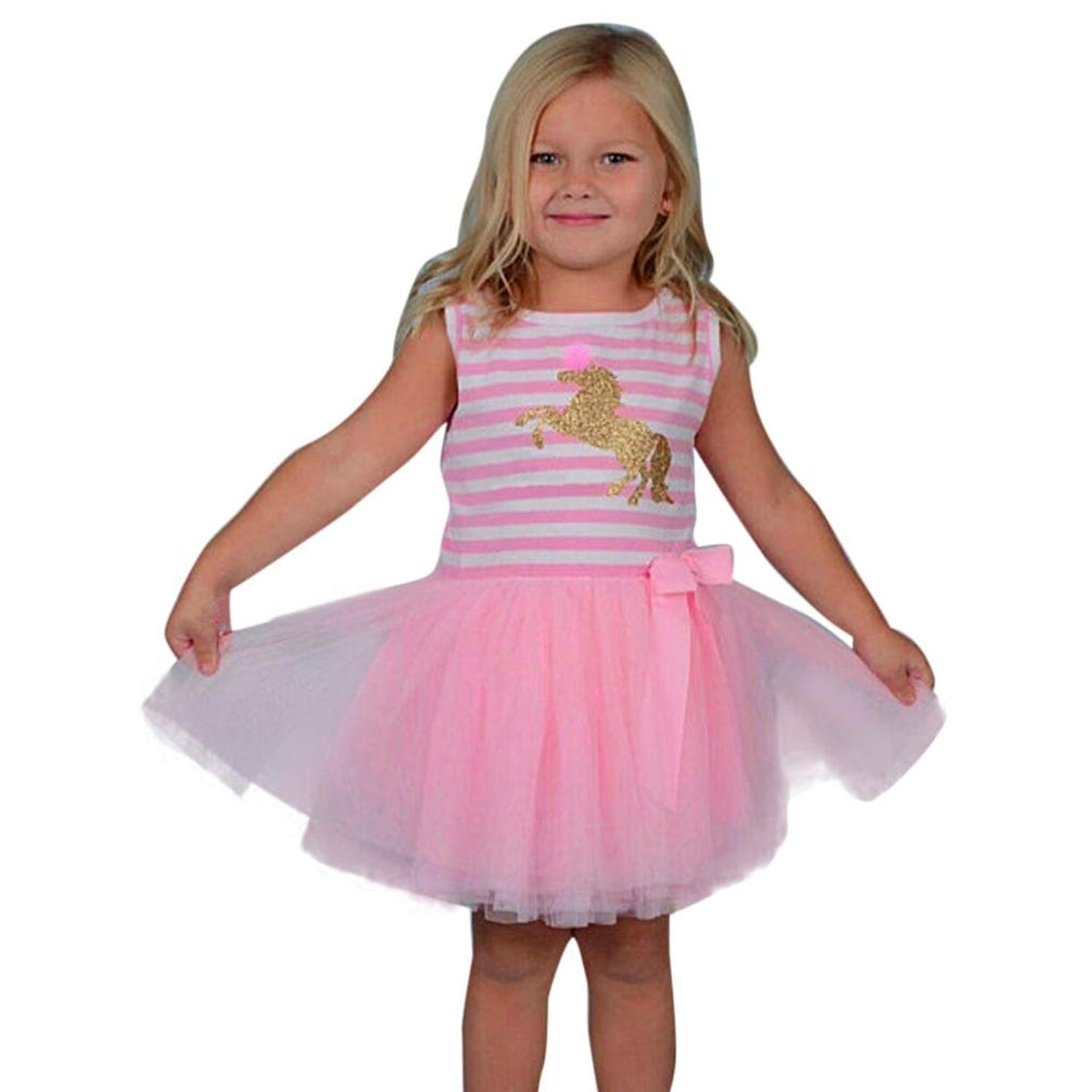 4ee5a845975 Get Quotations · Little Girls Clothes Summer Cute Pink Unicorn Sleeveless  Tulle Tutu Dress Outfits