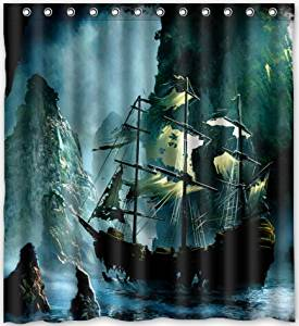 Get Quotations Funny Design Nautical Vintage Sailing Pirate Ship Theme Shower Curtain 66w X