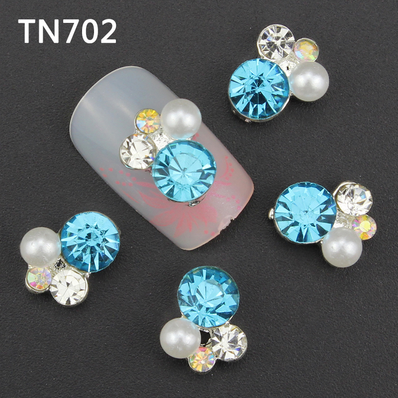 10pcs colorful 3d Nail Art Decorations with Rhinestones Alloy Nail Charms Jewelry for Nail Gel Polish