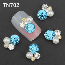 10pcs colorful 3d Nail Art Decorations with Rhinestones, Alloy Nail Charms Jewelry for Nail Gel/Polish Tools TN702
