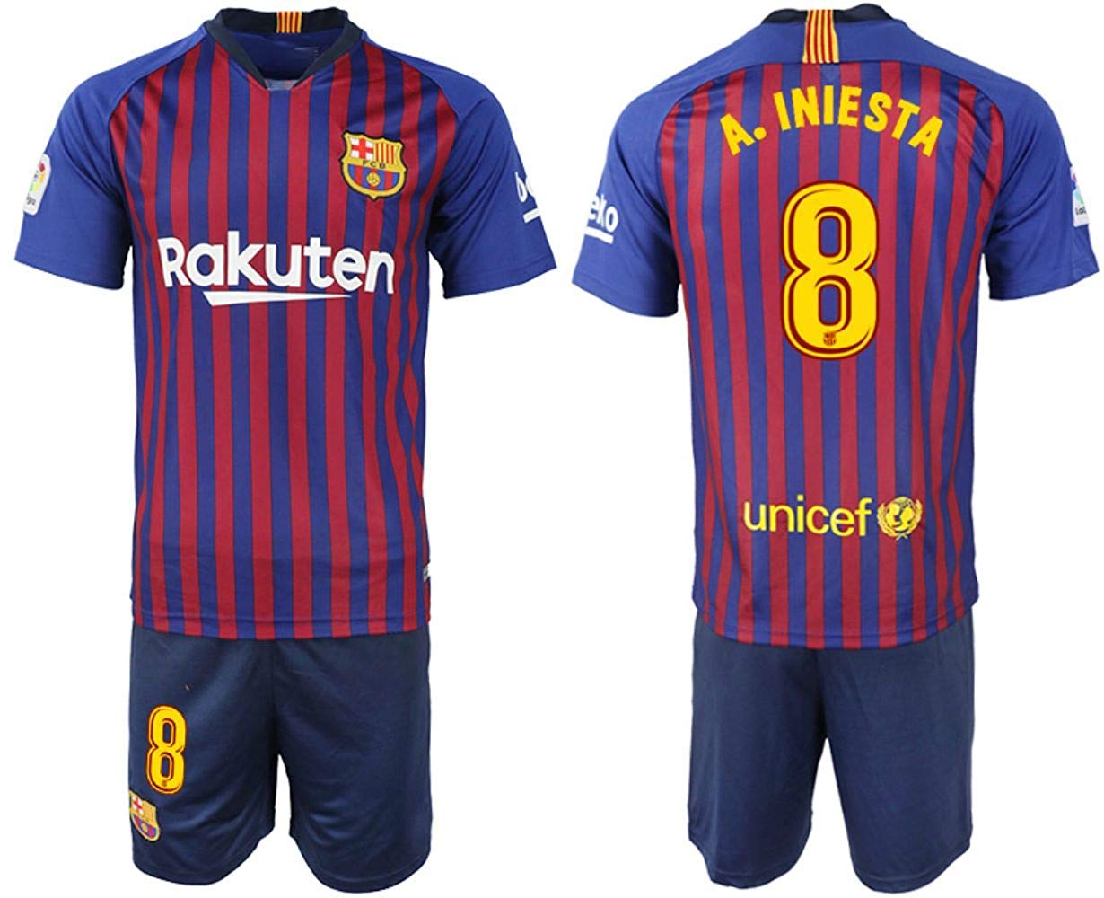 c462851fa63 Get Quotations · 2018-2019 Iniesta #8 Season Barcelona Home Soccer Jersey  Mens Color Blue