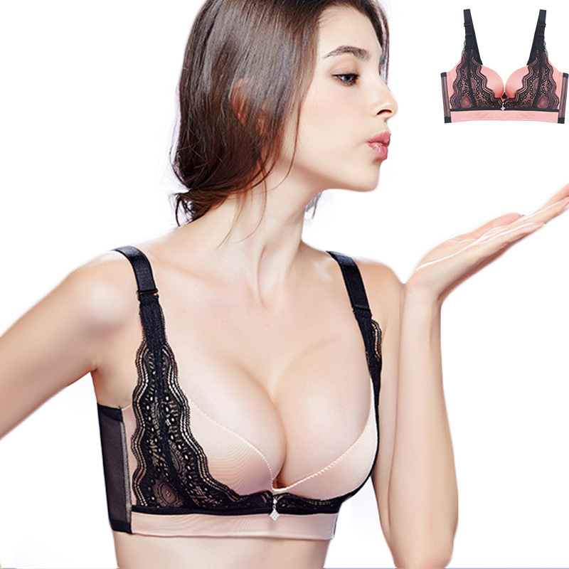 2015 Fashion Womens Ladies Girls Sexy Deep V Push Up Lace Bra 3/4 Cup brand Underwear 32 34 36 38 A B C Cup 4 Color Bralette