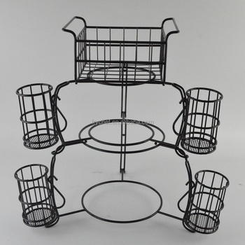 7 Pieces Wrought Iron Stack Buffet Caddy Stand,Metal Cutlery Stand ...