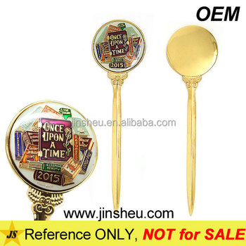 Custom Round Logos Personalized Gold Plated Metal Letter Opener OEM