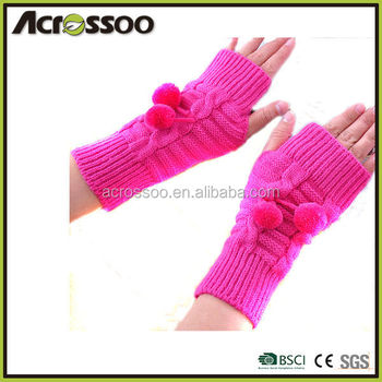 Fashion Ladies Acrylic Half Finger Mitten Gloves,Winter