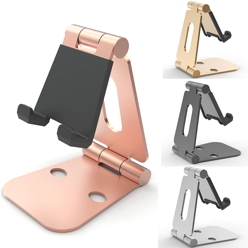 High quality rubber protection tablet holder stand aluminum foldable mobile phone holders