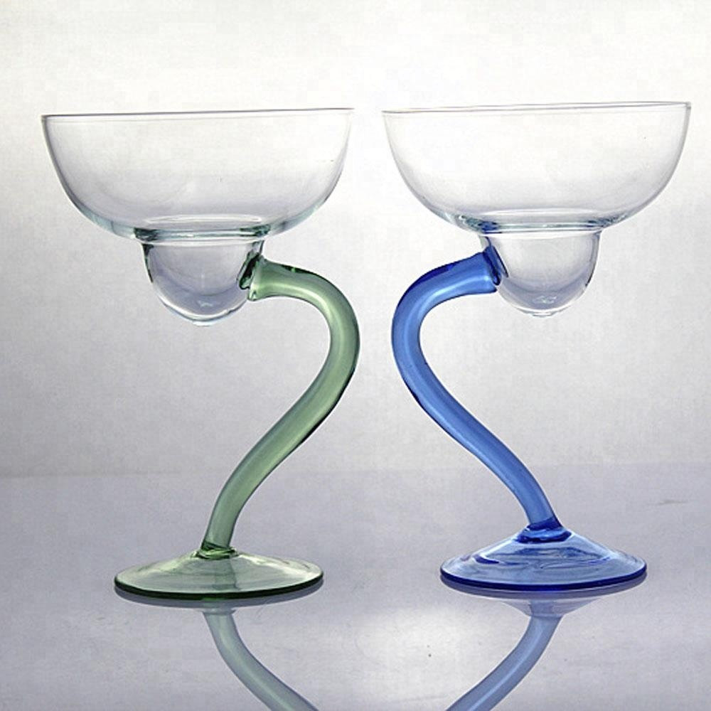 Perfect White Russian Gin Punch Colored Cocktail Martini Glass with Curved Bottom