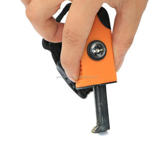 One hand survival fire starter with compass and whistle