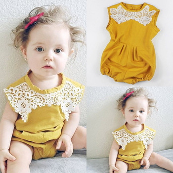 14c181299f12 Cute Newborn Baby Girl Floral cotton Romper 2017 Summer Sleeveless Princess  Toddler Kids yellow Jumpsuit Outfit