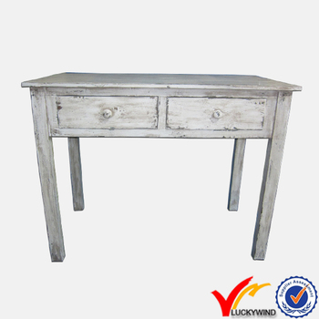 Antique White French Style Art Deco Decorative Wood Console Table
