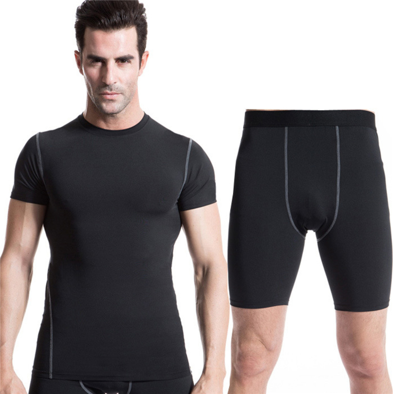 Summer Running Sets Men Compression Long Sleeve Shirt Fitness Shorts Male Gym Training Sets